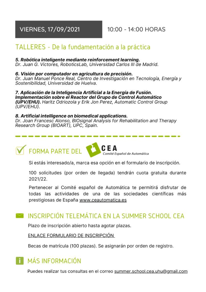 SUMMER SCHOOL - LA AUTOMÁTICA Y LA INTELIGENCIA ARTIFICIAL cartel dia 17