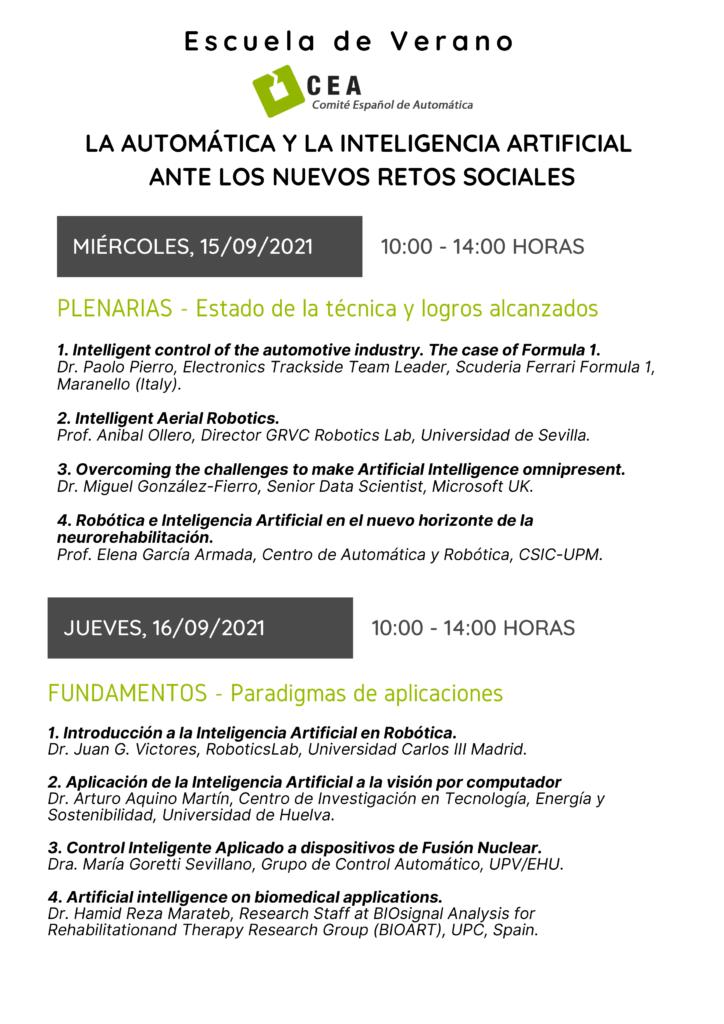 SUMMER SCHOOL - LA AUTOMÁTICA Y LA INTELIGENCIA ARTIFICIAL cartel dias 15 - 16
